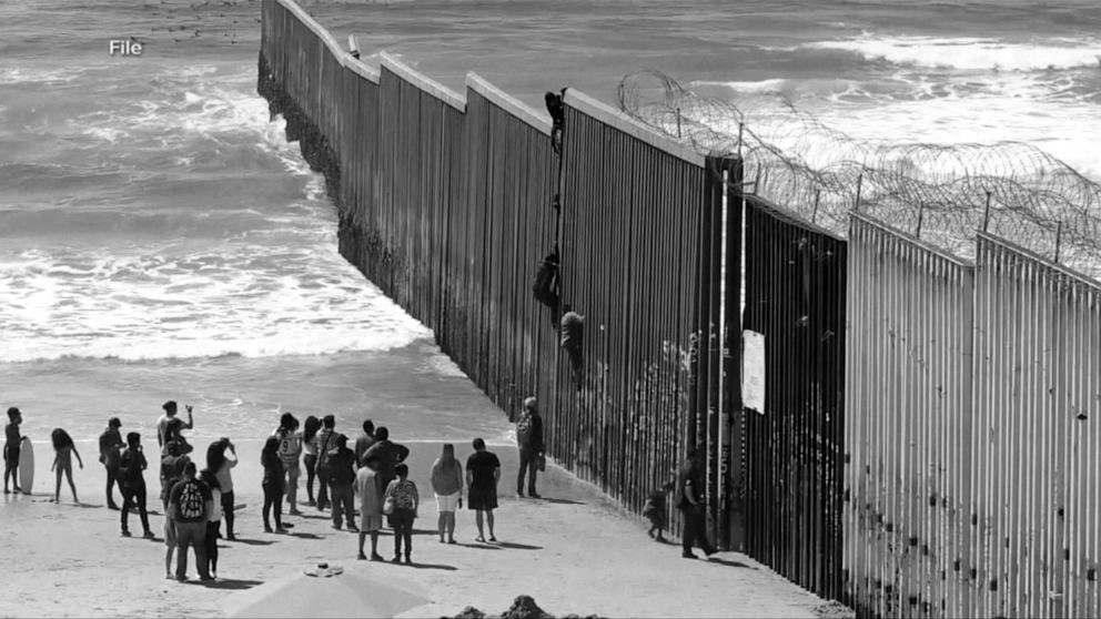 Mexicans crossing the USA border illegally