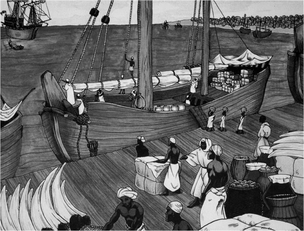 A drawing of merchant ships, traders, cargo and slaves at Kilwa