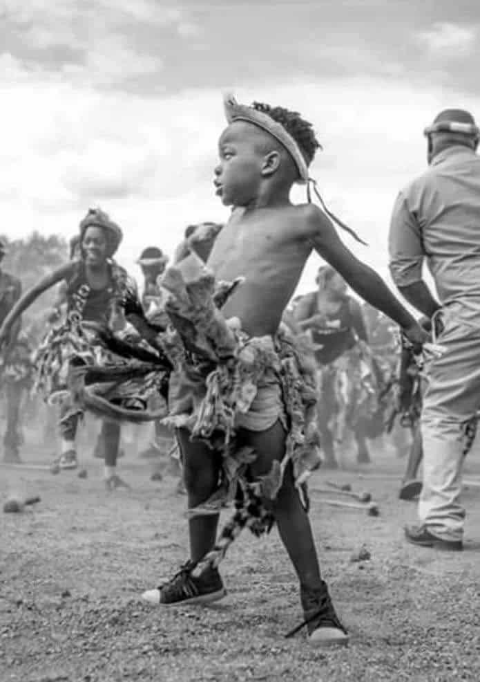 A Zambian young ngoni dancer