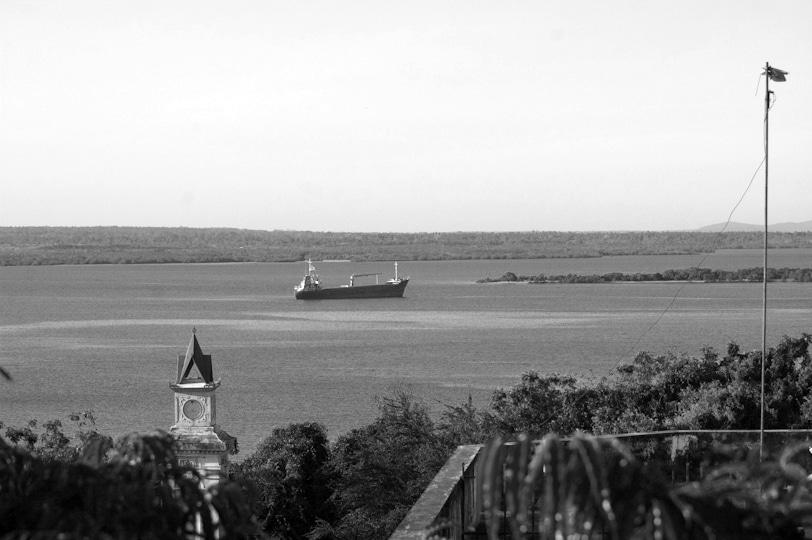 A ship has docked at the Tanga Bay