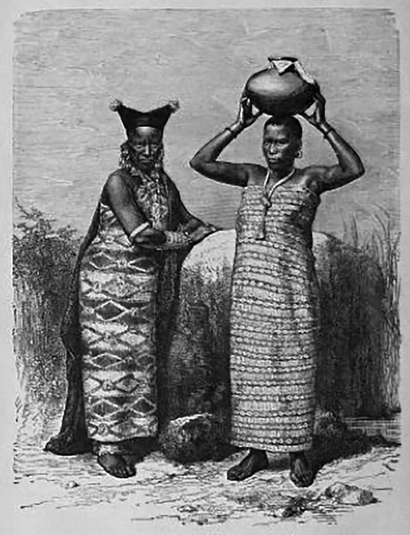 Women at the Zanzibar Sultan's court in year 1880